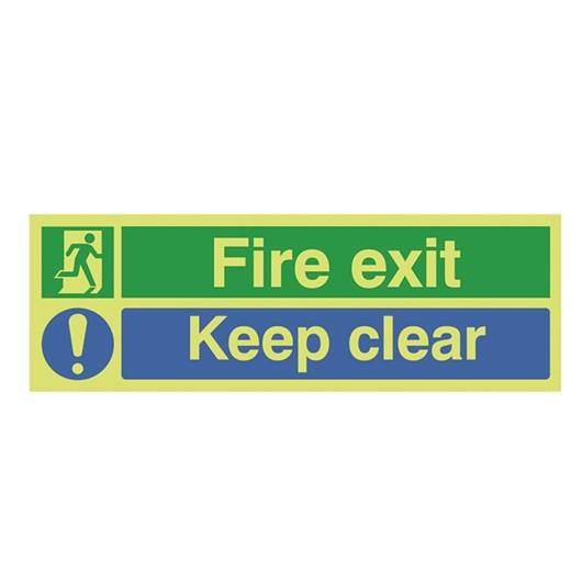 Picture of Photoluminescent Fire Exit Keep Clear Sign