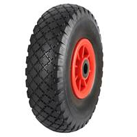 Picture of Black Pneumatic Tyred Wheels With Red Polypropylene Centres