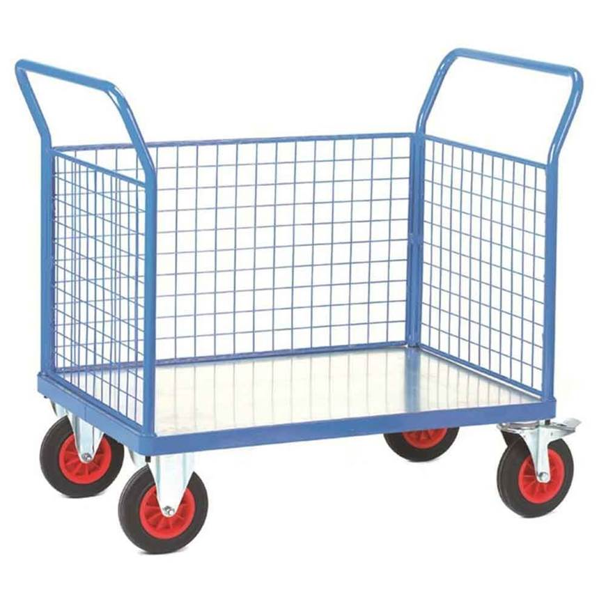 Picture of Fort Galvanised Platform Trucks with Three Mesh Sides