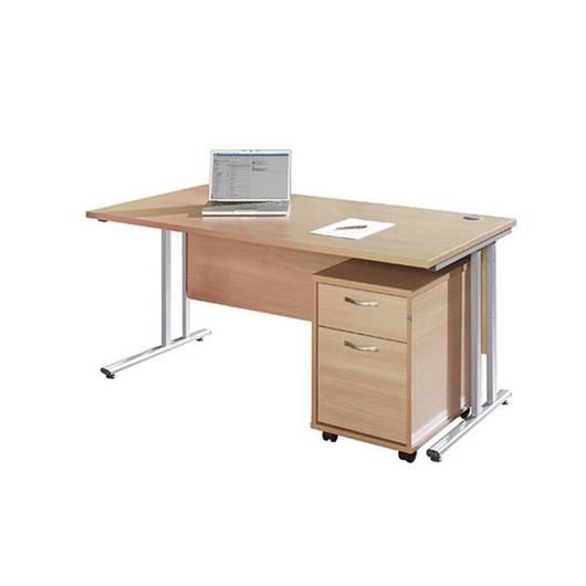 Picture of Maestro Desking - Straight Desk Bundle with 2 Drawer Pedestal - Oak Worktop