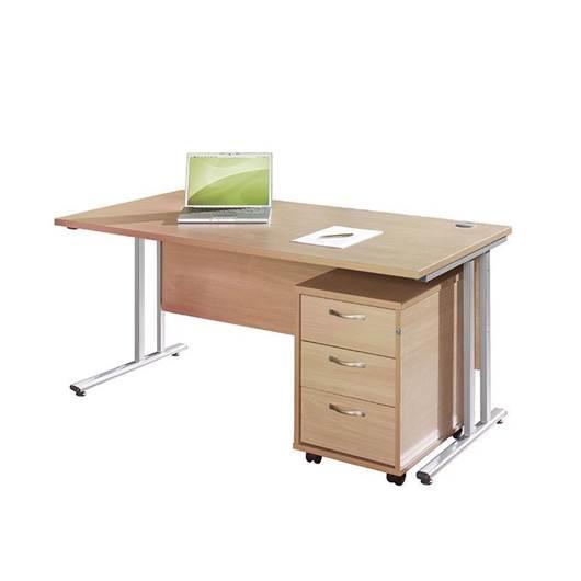 Picture of Maestro Desking - Straight Desk Bundle with 3 Drawer Pedestal - Oak Worktop